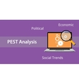 pest analysis concept with laptop and magnifying vector image