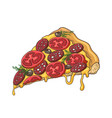 pizza slice icon on white vector image vector image