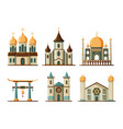 religion buildings flat lutheran and christian vector image
