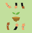 save green plant with plants grow on the soil vector image
