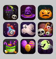 scary cartoon app icons with halloween attributes vector image