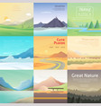 set cute cartoon landscapes with mountain vector image