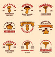 set emblems with mushrooms design element for vector image vector image
