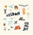 set icons freedom theme feel joy typography vector image