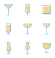 set simple cocktails and alcohol drinks vector image
