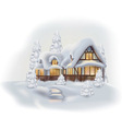 Snowy Cottage vector image