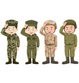 Soldiers in green and brown uniform vector image vector image