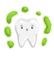 tooth with bacteria in mouth vector image vector image