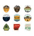 vintage camp logos mountain color badges set vector image vector image