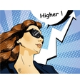 Woman in sunglasses with arrow graph vector image