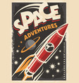 retro poster with space ship rocket vector image