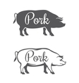 Two pork silhouettes vector image