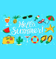 hello summer lettering beach banner with summer vector image