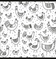 ethnic style linear birds seamless pattern vector image