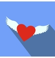 Heart with wings flat icon vector image