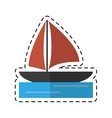 sailboat navigation water recreation cutting line vector image