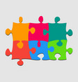 3 colorful piece puzzle rectangle banner puzzle vector image