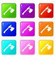 ancient ax weapon icons set 9 color collection vector image