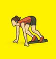 athlete runner a woman prepare start running acti