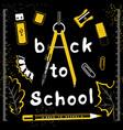 back to school set on black vector image