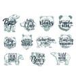 bear animal sketches with lettering hunting sport vector image