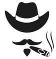 black and white smoking cowboy avatar silhouette vector image vector image