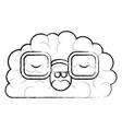 brain character with glasses and emotional vector image vector image