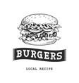 burger retro emblem vector image vector image
