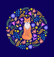 card with fox and flowers vector image vector image