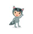 cartoon joyful kid wearing raccoon jumpsuit vector image
