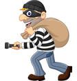 cartoon thief walking and carrying a bag vector image