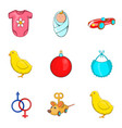 childs play icons set cartoon style vector image vector image