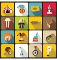 Circus entertainment icons set flat style