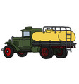 classic green and yellow tank truck vector image