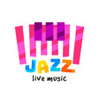 creative flat logo for jazz live concert vector image vector image