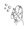 cute girl blowing bubbles sketch vector image vector image