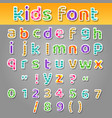cute kids patchwork patterns alphabet vector image vector image