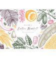 design with hand drawn exotic fruits and nuts vector image vector image