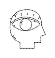 dotted shape silhouette man with eye vision design vector image