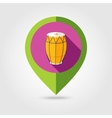 Drum flat mapping pin icon with long shadow vector image vector image