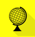 earth globe sign black icon with flat style vector image vector image