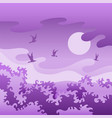 evening violet landscape with birds vector image