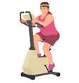 fat woman doing workout running to loss his vector image vector image