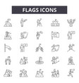 flags line icons signs set outline vector image