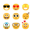flat emoticons faces simple happy and funny vector image