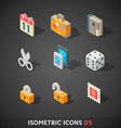 Flat Isometric Icons Set 5 vector image vector image