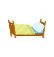 flat wooden bed with pillow and blanket vector image vector image