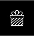 gift box line icon on black background black flat vector image vector image