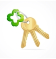Gold keys and clover key chain vector image vector image
