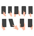 hand holding black smartphone touching blank vector image vector image
